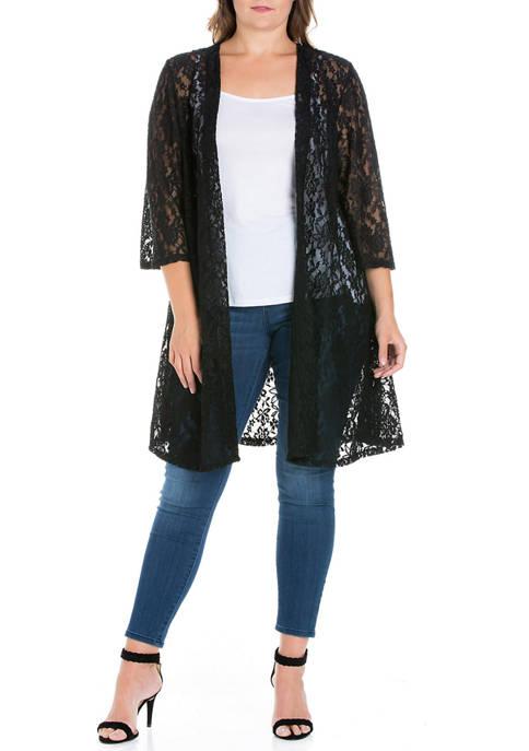 Plus Size Knee Length Sheer Black Lace Cardigan
