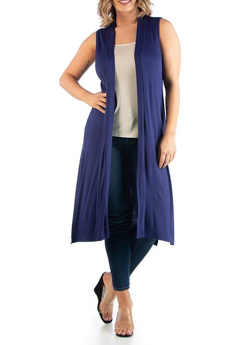 Plus Size Long Sleeveless Cardigan
