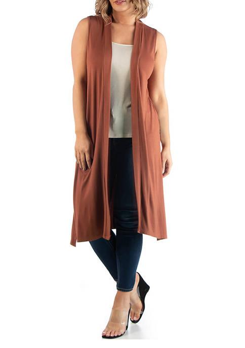 24seven Comfort Apparel Plus Size Long Sleeveless Cardigan