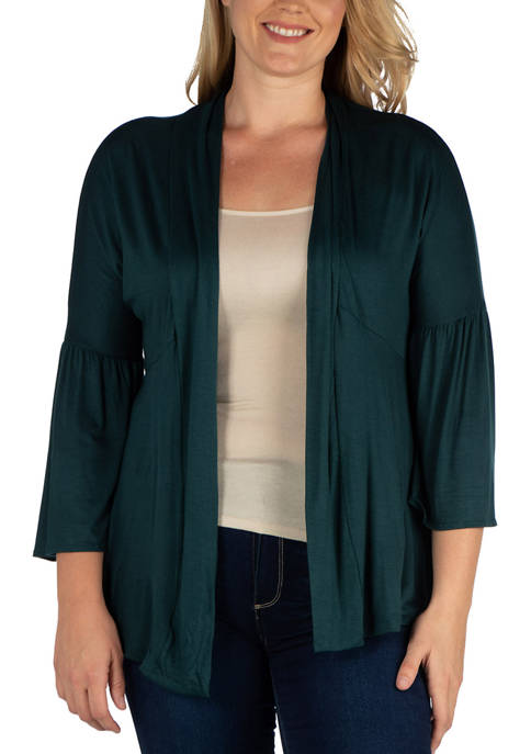 24seven Comfort Apparel Plus Size Bell Sleeve Flared