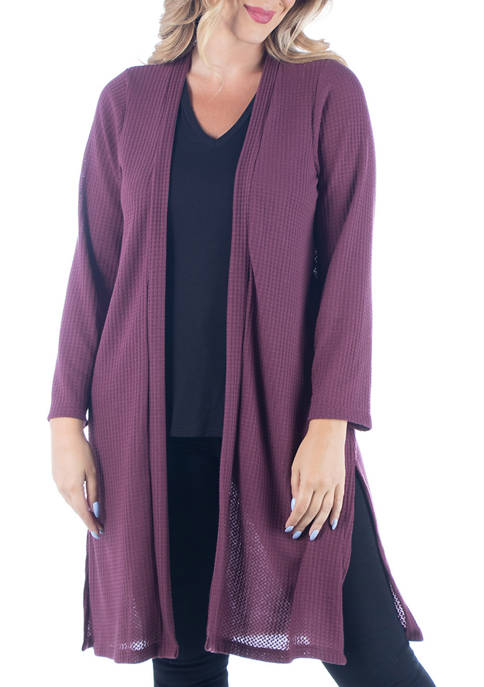24seven Comfort Apparel Plus Size Waffle Fabric Long