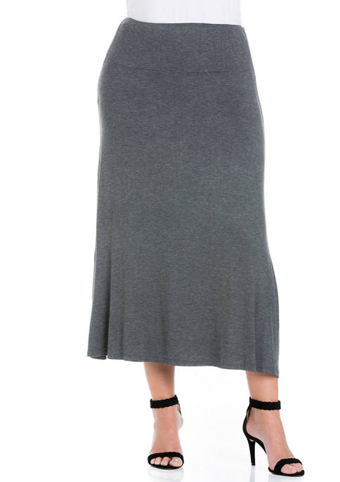 24seven Comfort Apparel Plus Size Maxi Skirt