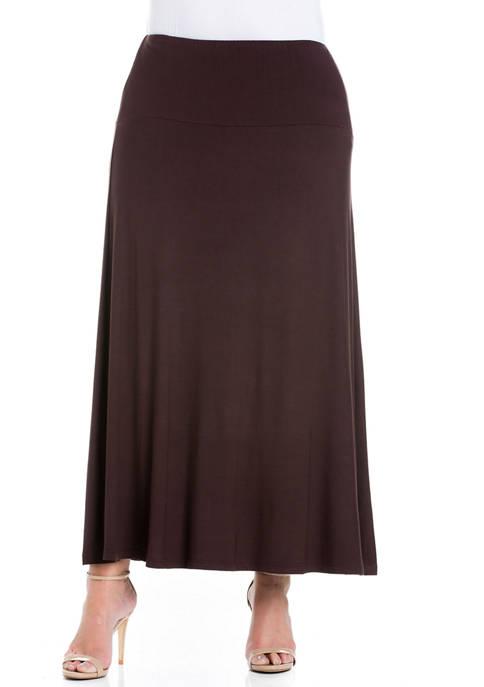 24seven Comfort Apparel Plus Size Maxi Skirt