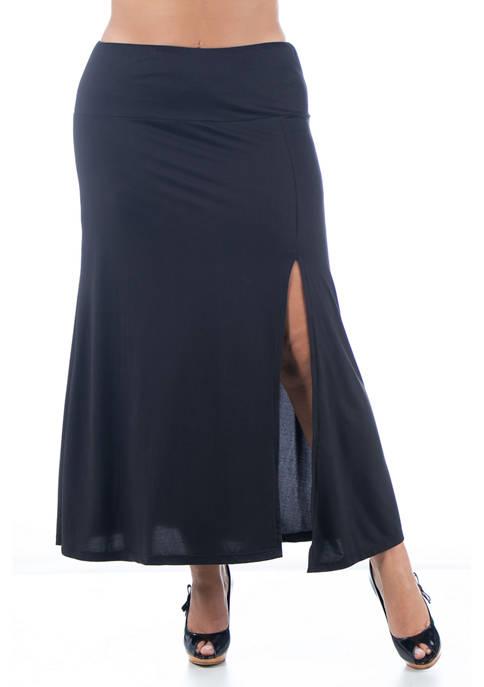 24seven Comfort Apparel Plus Size Side Slit Ankle