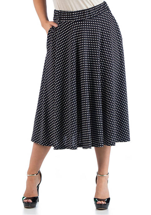 24seven Comfort Apparel Plus Size Midi Skirt with