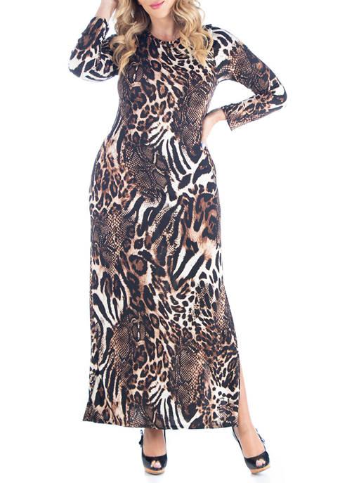 24seven Comfort Apparel Plus Size Cheetah Print Long