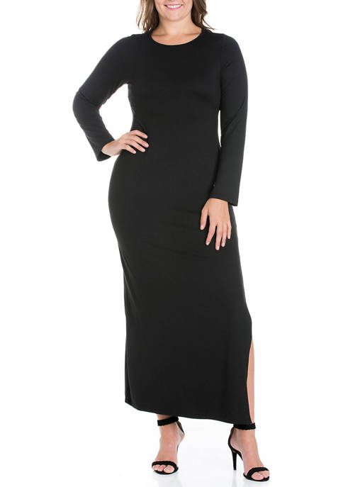 Plus Size Long Sleeve Side Slit Fitted Black Maxi Dress