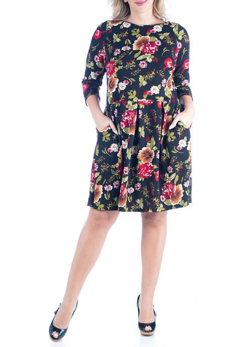 24seven Comfort Apparel Plus Size Print Knee Length