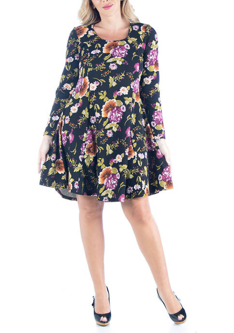 24seven Comfort Apparel Plus Size Floral Long Sleeve