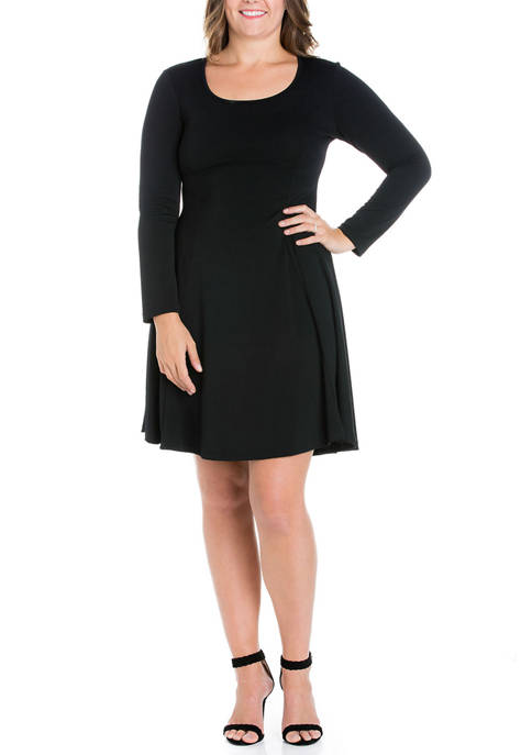 24seven Comfort Apparel Plus Size Long Sleeve Knee
