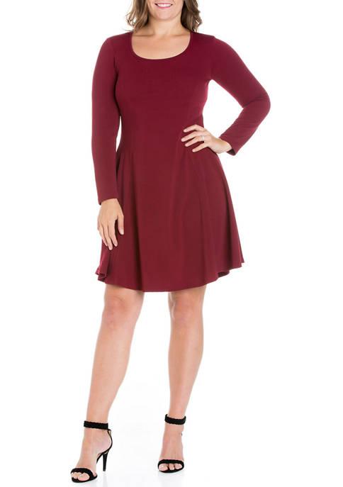 24seven Comfort Apparel Plus Size Long Sleeve Knee