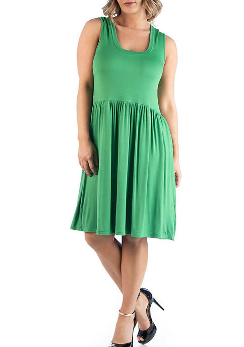 24seven Comfort Apparel Plus Size Sleeveless Pleated Fit