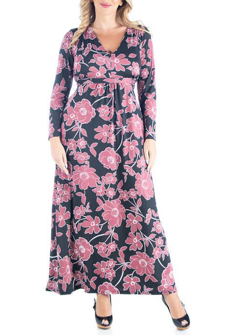 24seven Comfort Apparel Plus Size Elegant Floral Long