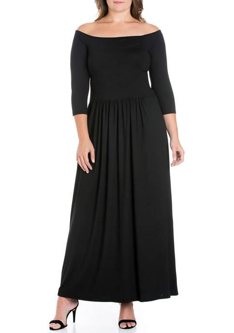 24seven Comfort Apparel Plus Size Off-the-Shoulder Maxi Dress