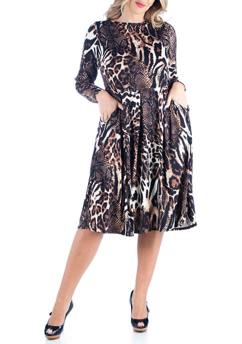 24seven Comfort Apparel Plus Size Animal Print Long