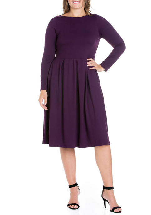 24seven Comfort Apparel Plus Size Long Sleeve Fit-and-Flare