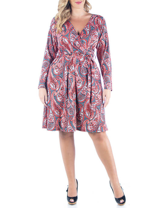 Plus Size Paisley Print Long Sleeve Dress With Belt