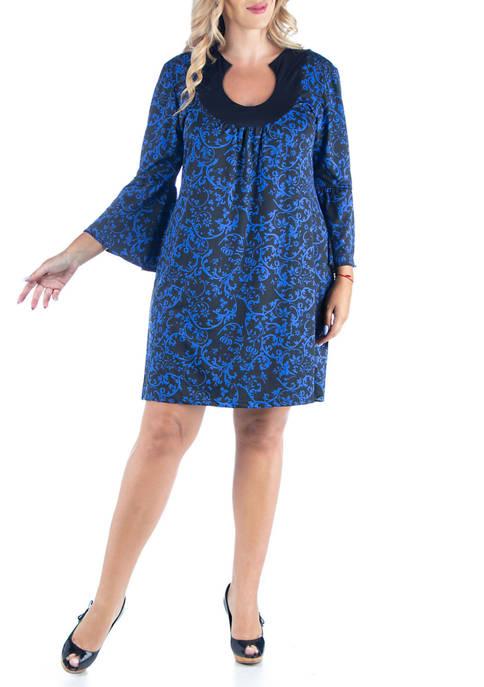 24seven Comfort Apparel Plus Size Print Bell Sleeve