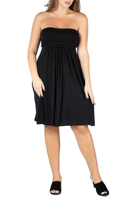 24seven Comfort Apparel Plus Size Knee Length Strapless