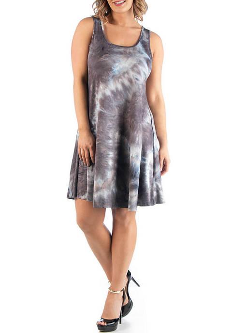 24seven Comfort Apparel Plus Size Sleeveless Tie Dye