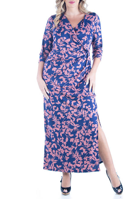Plus Size Floral Print Sleeve Side Slit Maxi Dress