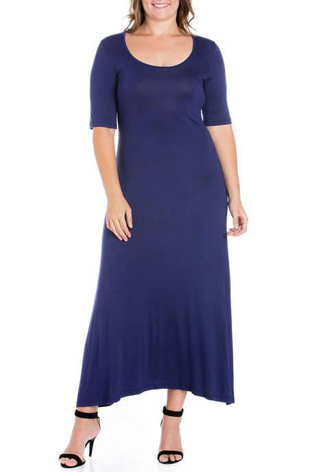 24seven Comfort Apparel Plus Size Elbow Length Sleeve
