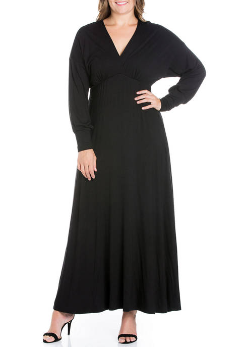 24seven Comfort Apparel Plus Size V-Neck Long Sleeve