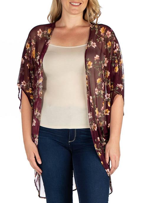 24seven Comfort Apparel Plus Size Long Burgundy Floral