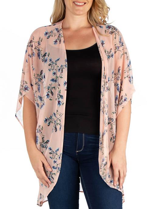 24seven Comfort Apparel Plus Size Long Pink Floral