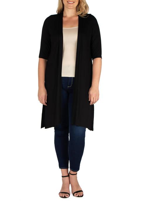 24seven Comfort Apparel Plus Size Knee Length Elbow