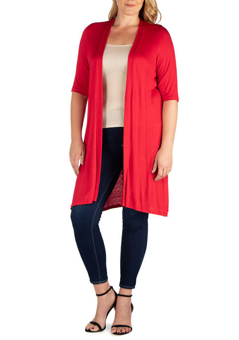 Plus Size Knee Length Elbow Sleeve Open Front  Cardigan