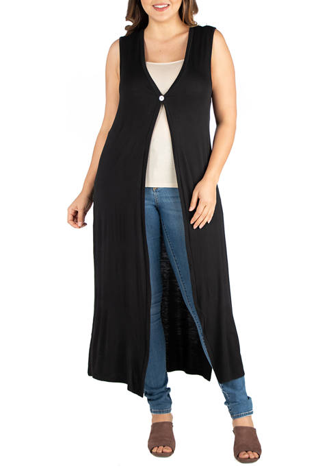 24seven Comfort Apparel Plus Size Sleeveless Cardigan Duster