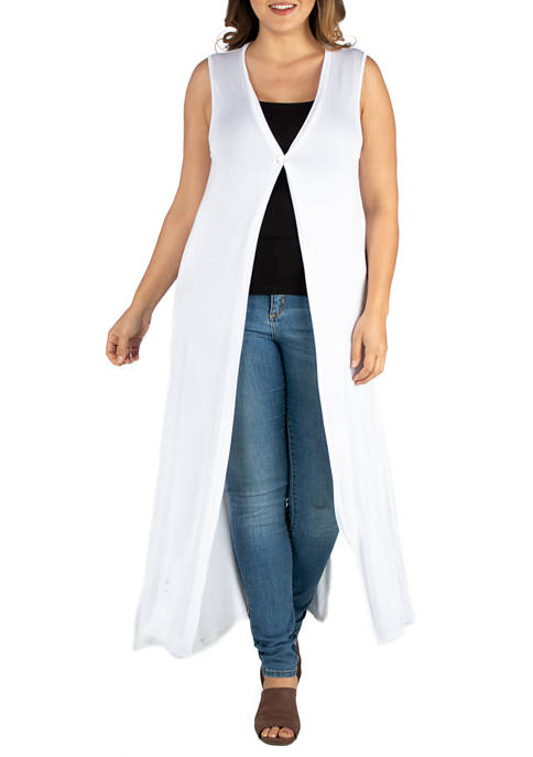 Plus Size Sleeveless Cardigan Duster Vest
