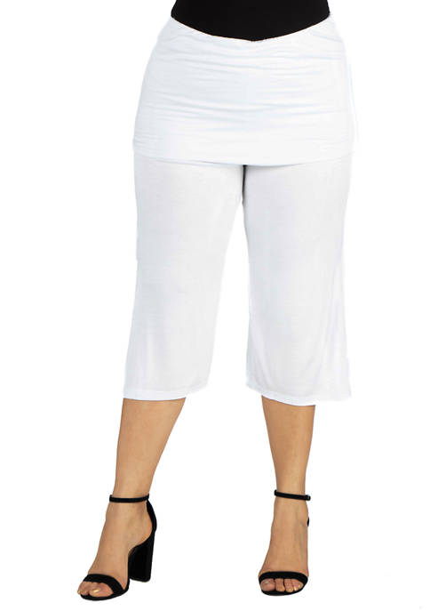 Plus Size Foldover Waist Cropped Pants