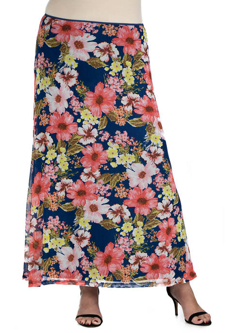 24seven Comfort Apparel Plus Size Sheer Floral Maxi