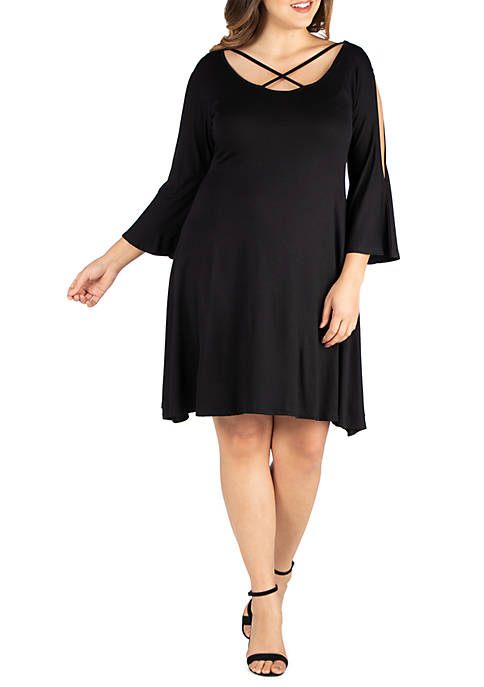 24seven Comfort Apparel Plus Size Criss Cross Round