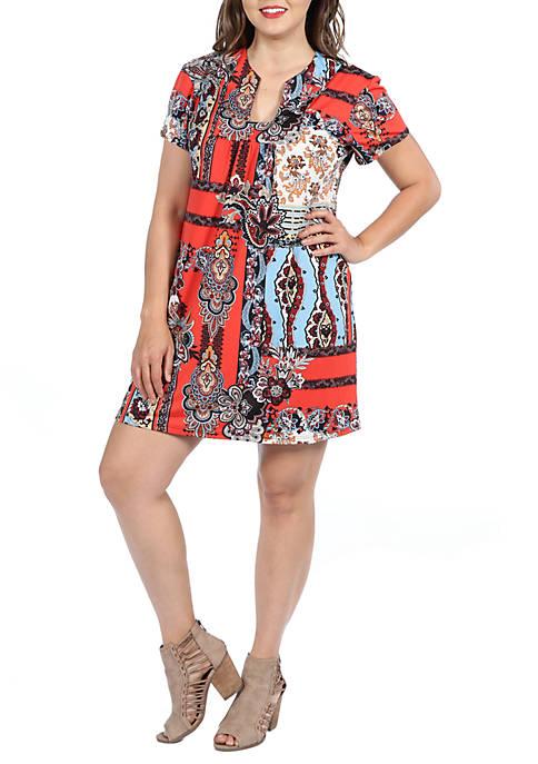 Plus Size Square Neck Short Sleeve Mini Dress