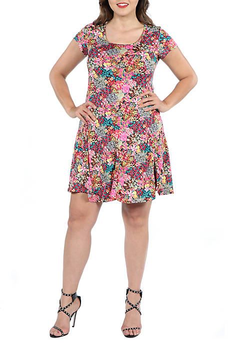 24seven Comfort Apparel Plus Size Floral Knee Length