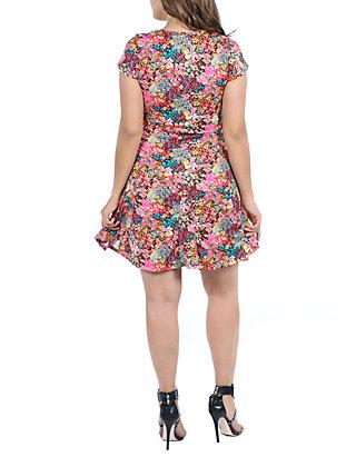2f38dfb175 24seven Comfort Apparel Plus Size Floral Knee Length Short Sleeve ...