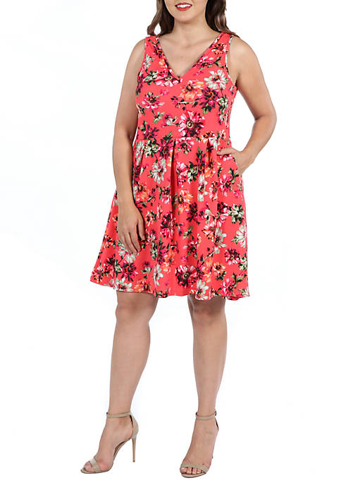 24seven Comfort Apparel Plus Size Floral Fit and