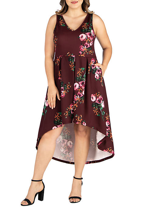 24seven Comfort Apparel Plus Size Floral High Low
