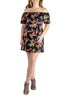 24seven Comfort Apparel Plus Size Off The Shoulder Summer Tunic Dress