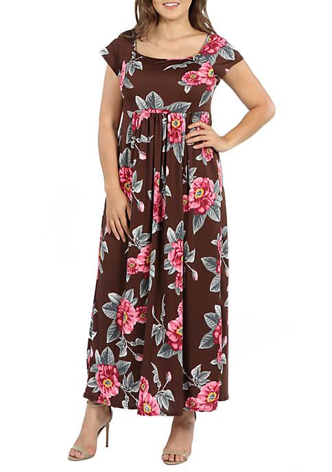 Plus Size Cap Sleeve Empire Waist Pleated Maxi Dress