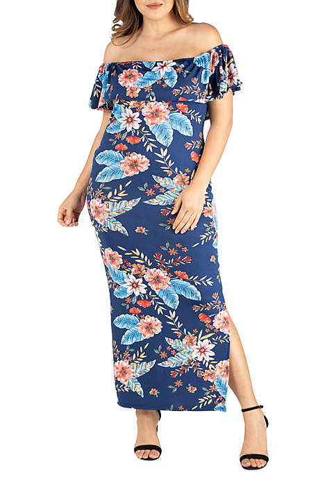 24seven Comfort Apparel Plus Size Floral Ruffle Off