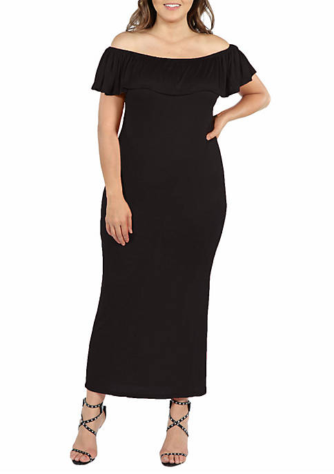 Plus Size Ruffle Off the Shoulder Maxi Dress