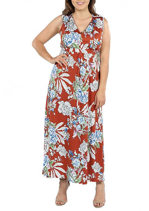 24seven Comfort Apparel Plus Size Sleeveless Floral Maxi