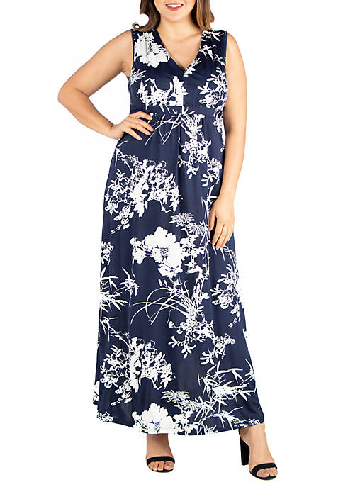 Plus Size Sleeveless Floral Maxi Dress
