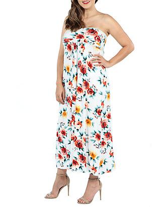 Plus Size Strapless Floral Empire Waist Maxi Dress