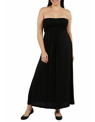 Plus Size Belted Empire Waist Strapless Maxi Dress