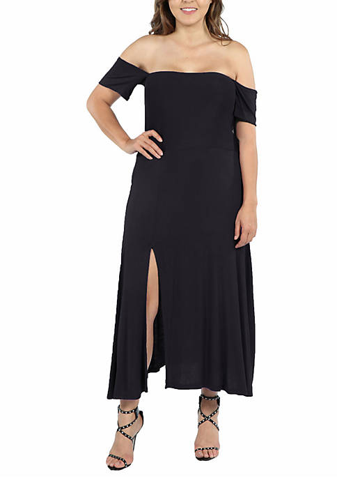 24seven Comfort Apparel Plus Size Off the Shoulder